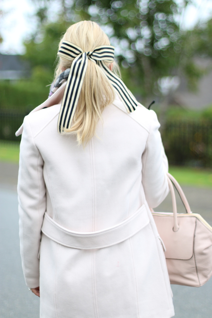 Pink Coat Striped Ribbon