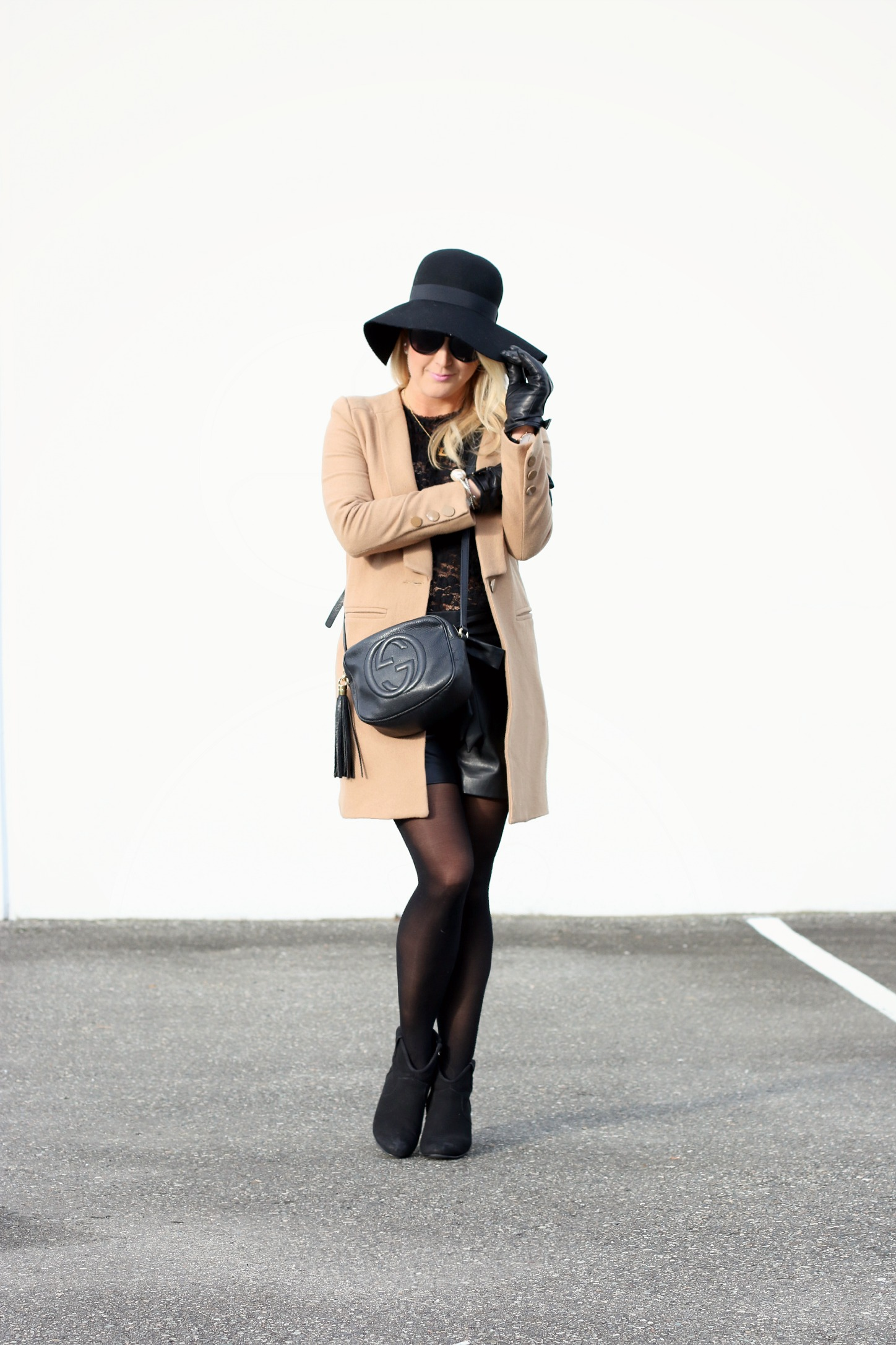 Camel Coat Floppy Hat