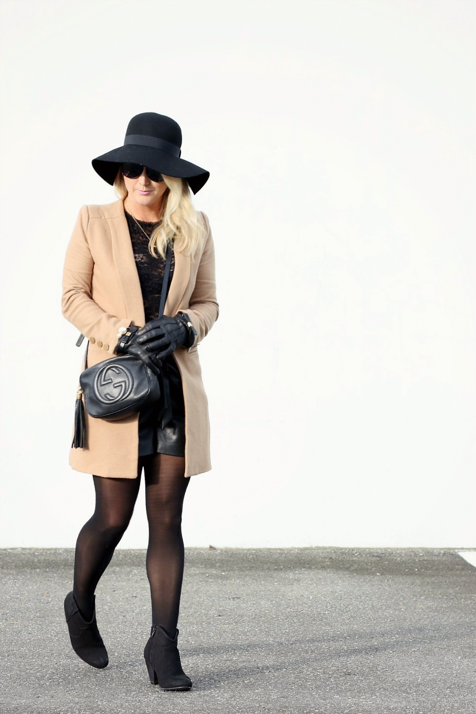 camel Coat Floppy Hat Gucci Purse