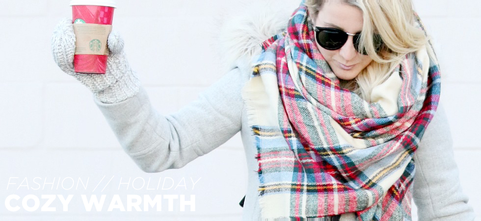 holiday style faux fur plaid scarf