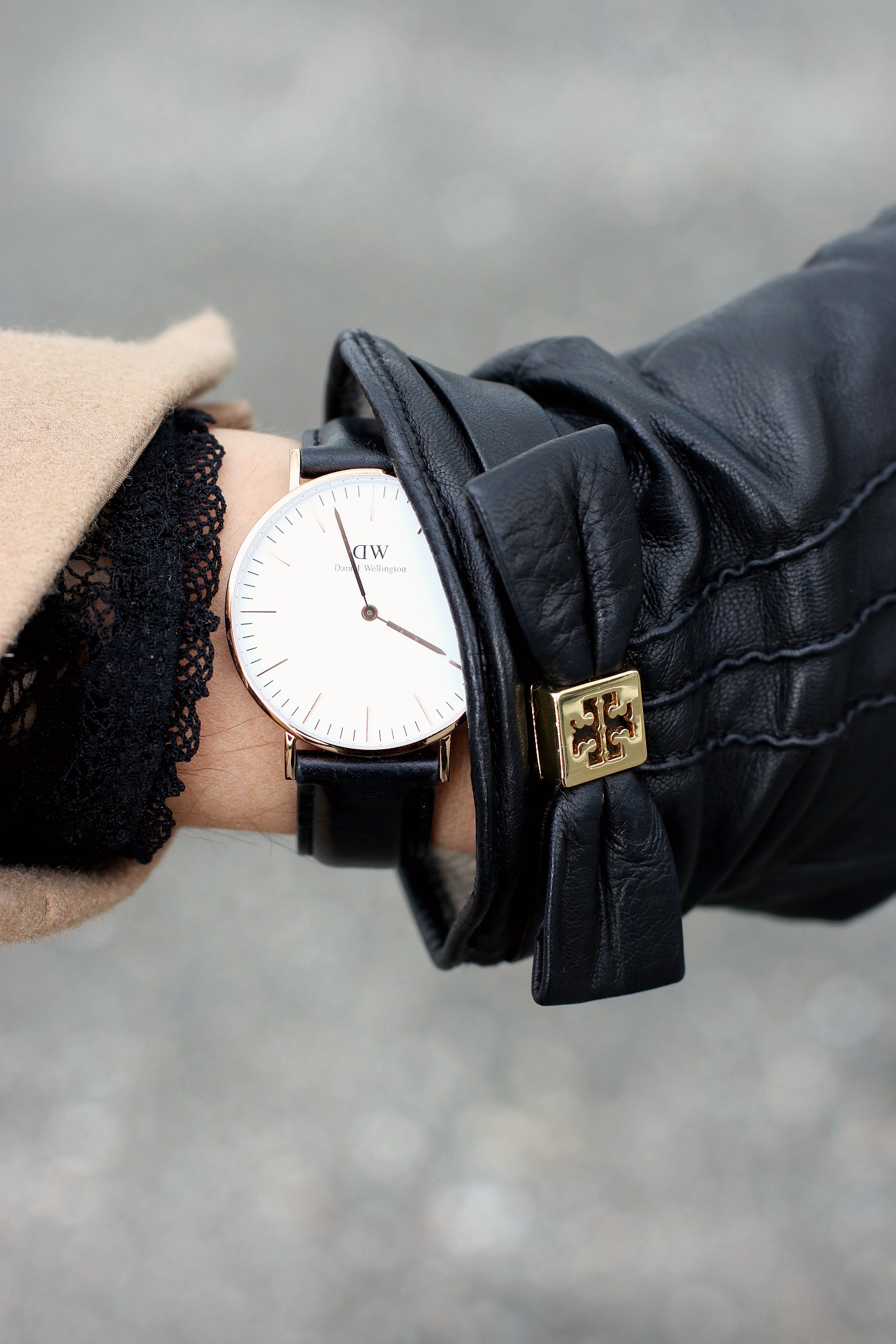 Daniel Wellington Watch Tory Burch Leather Gloves