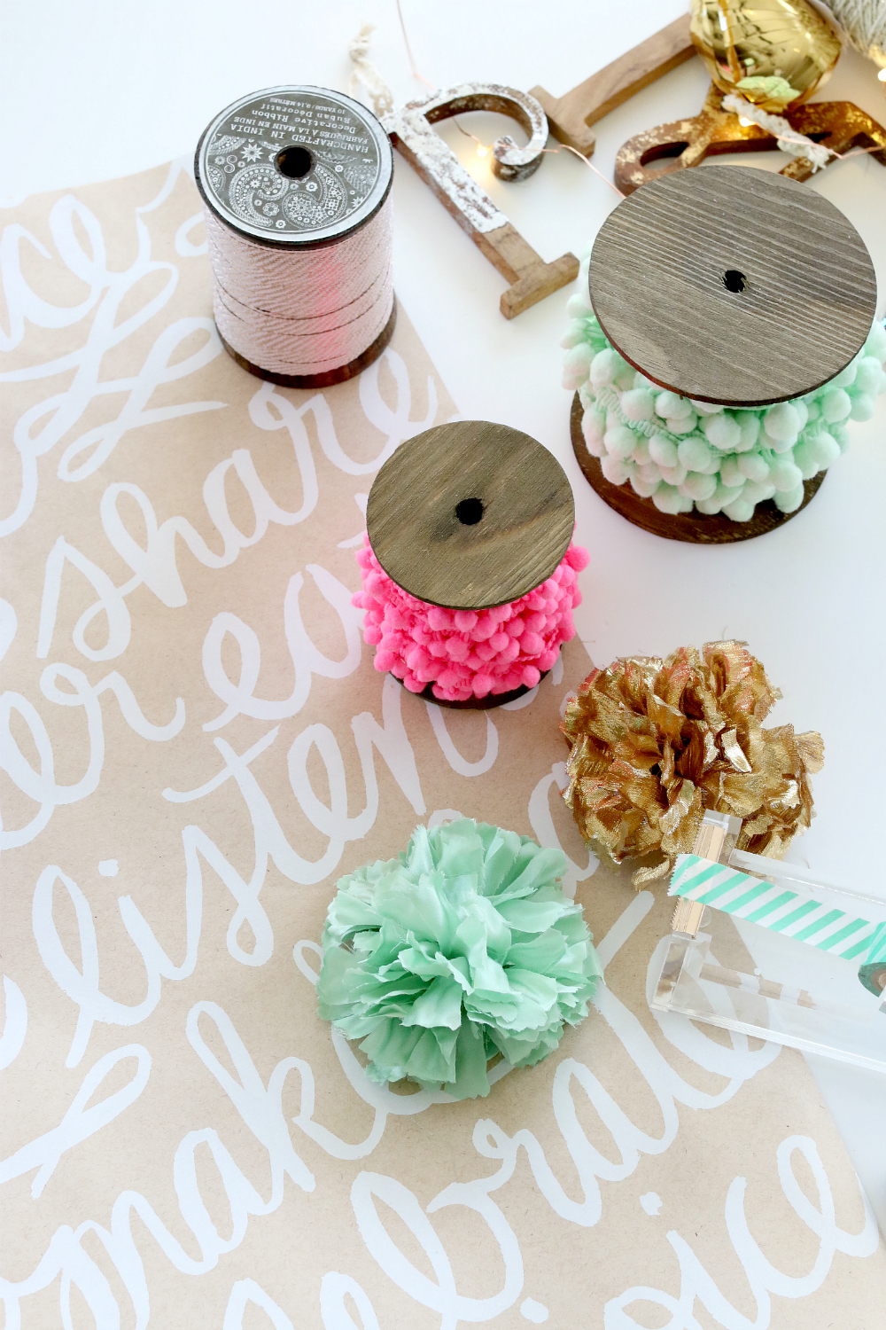 Gift wrapping paper pom pom
