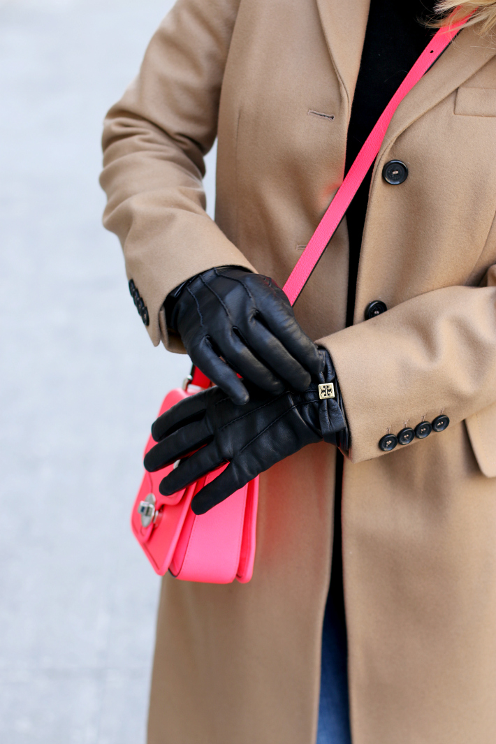 Tory Burch Leather Gloves Neon Pink Coach