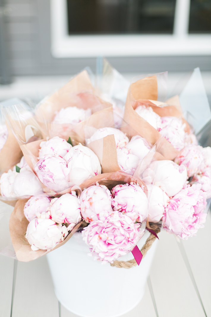 Basket of Pink Peonies