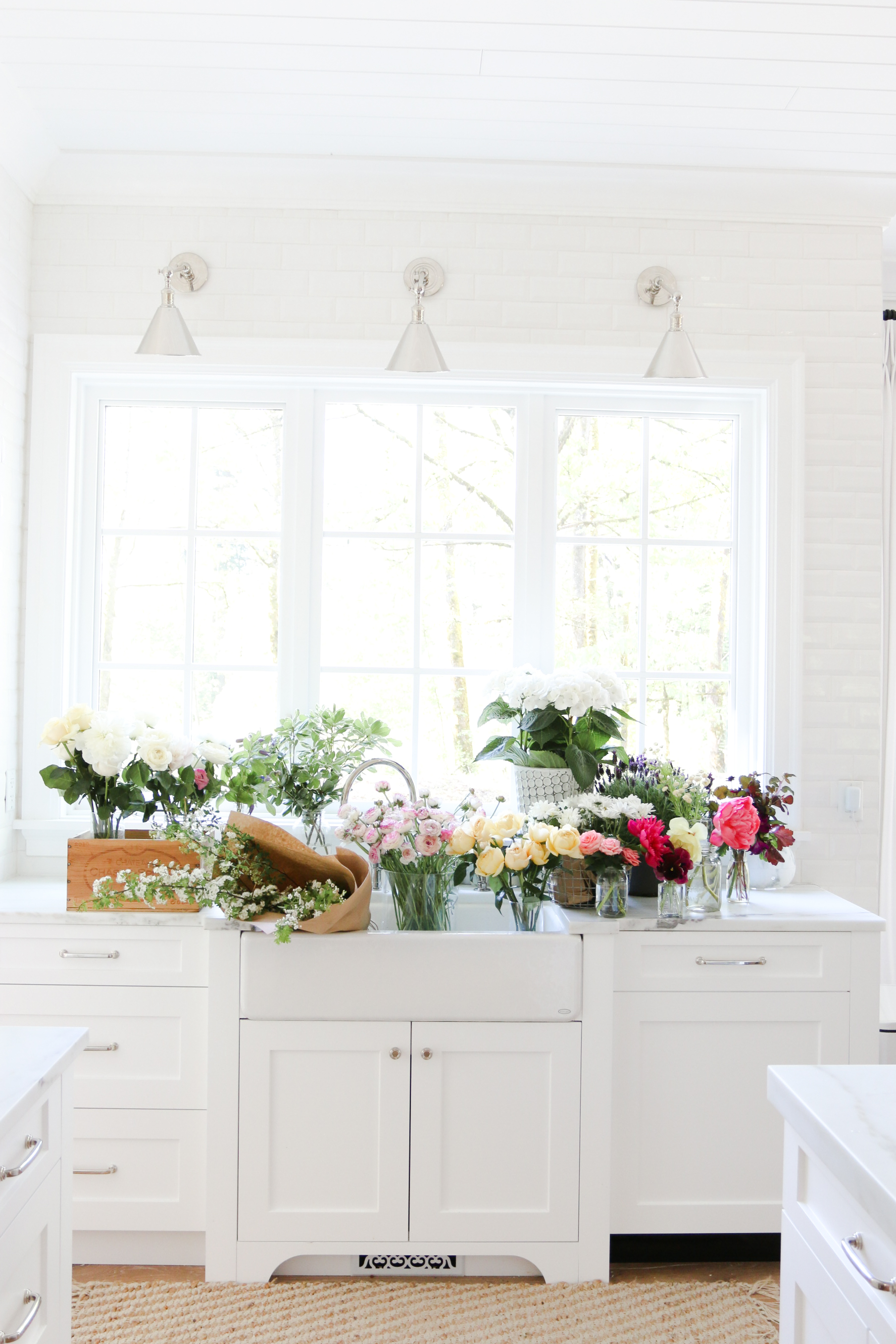 Flowers White Kitchen Monika Hibbs