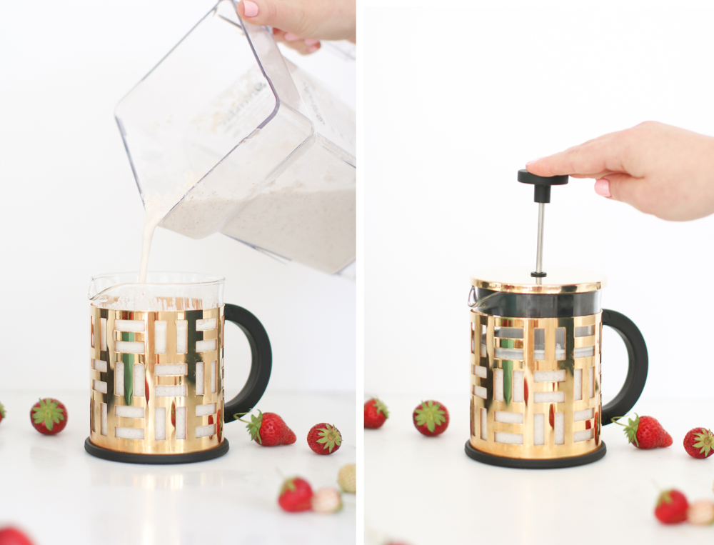 French Press Almond Milk Strawberries DIY Recipe Monika Hibbs