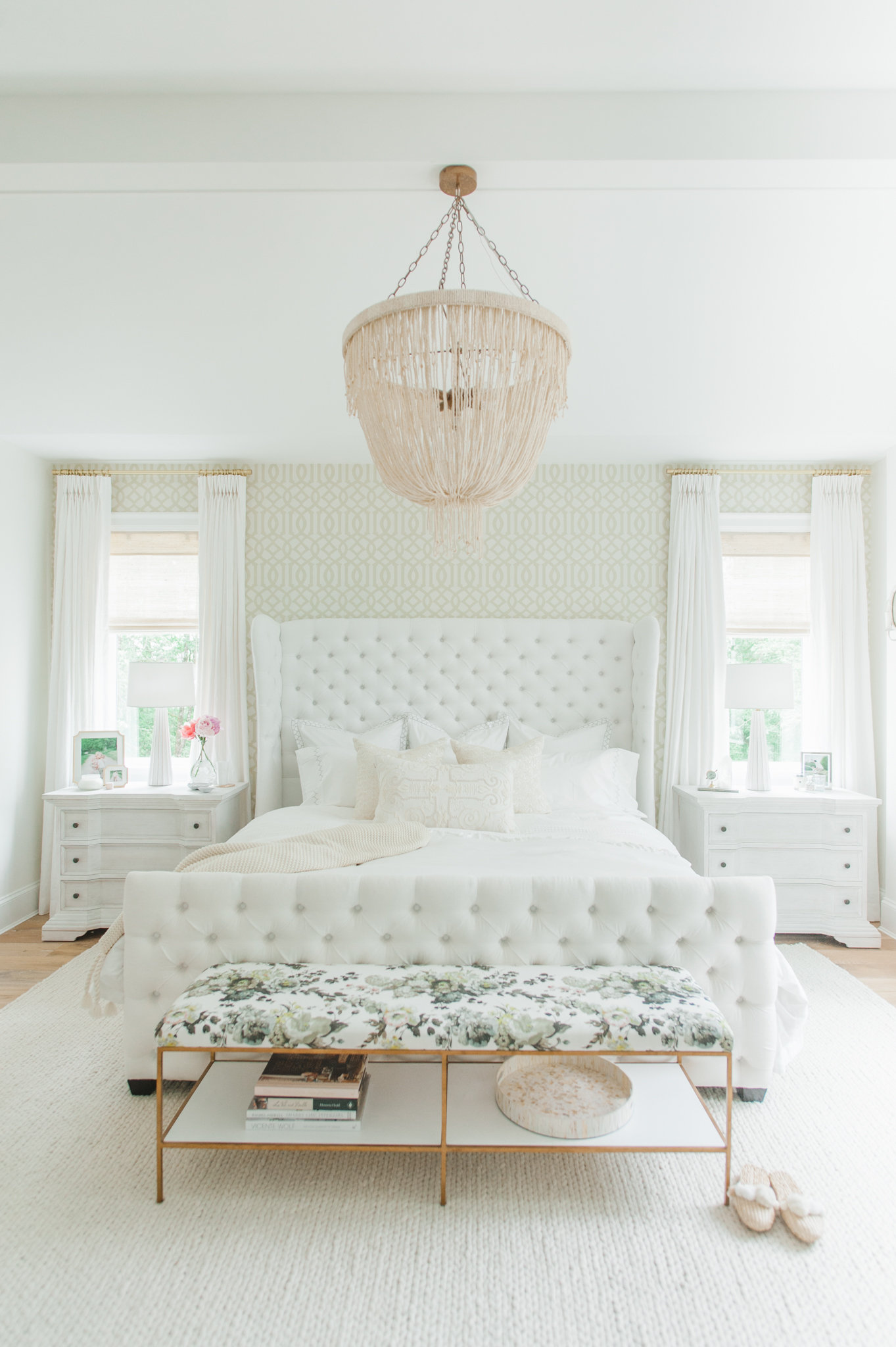 Master Bedroom White MH Home Cross Design Monika Hibbs
