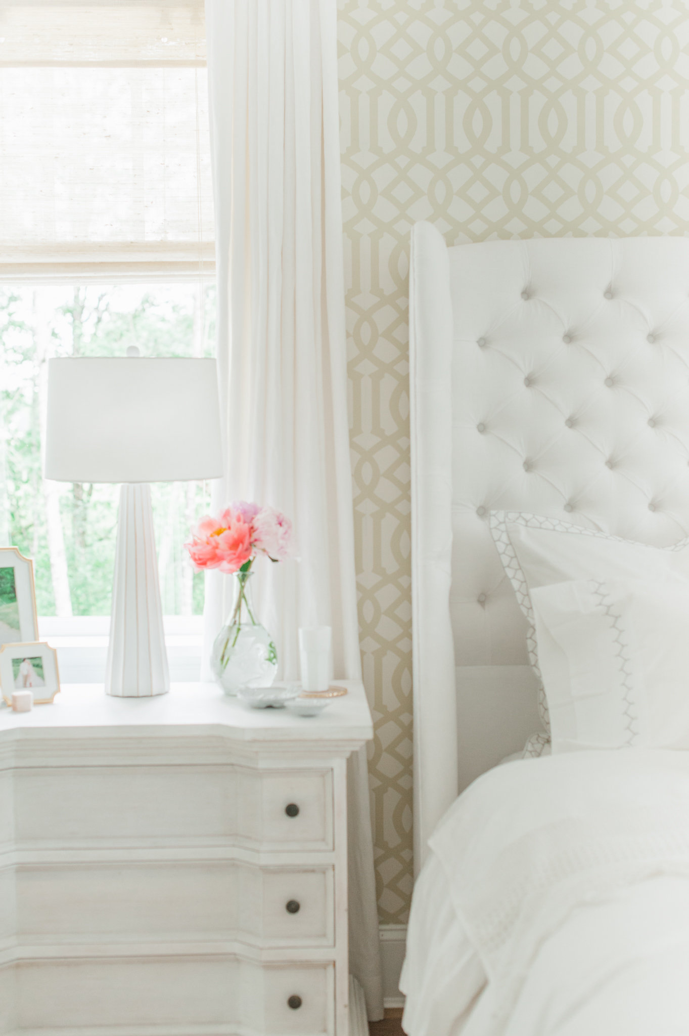... Master Bedroom Wallpaper Cross Design White MH Home Monika Hibbs ...
