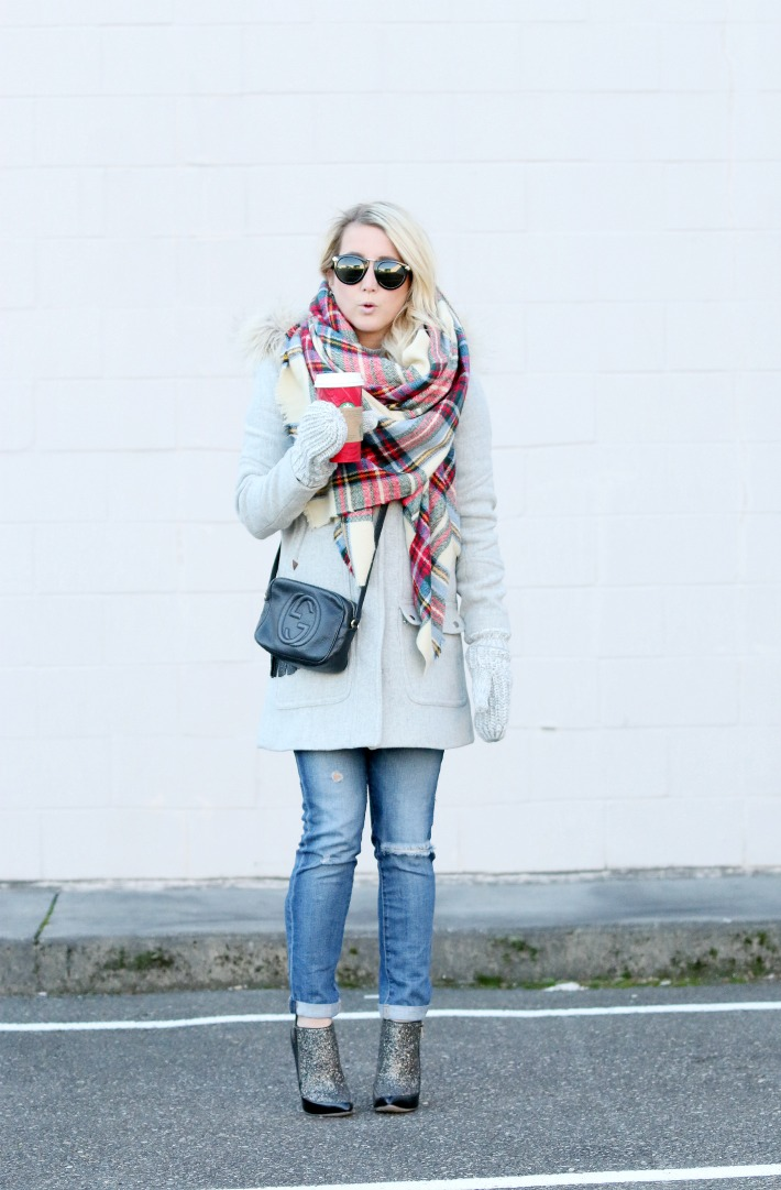 Holiday Style Plaid Scarf Faux Fur