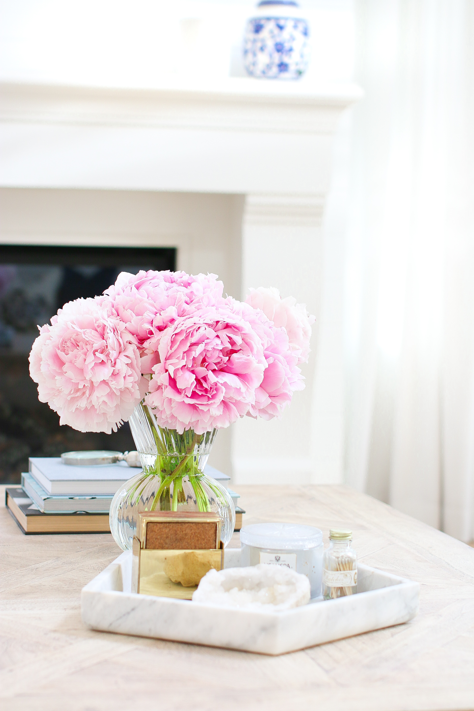 Pink Peonies Marble Tray Coffee Table Monika Hibbs
