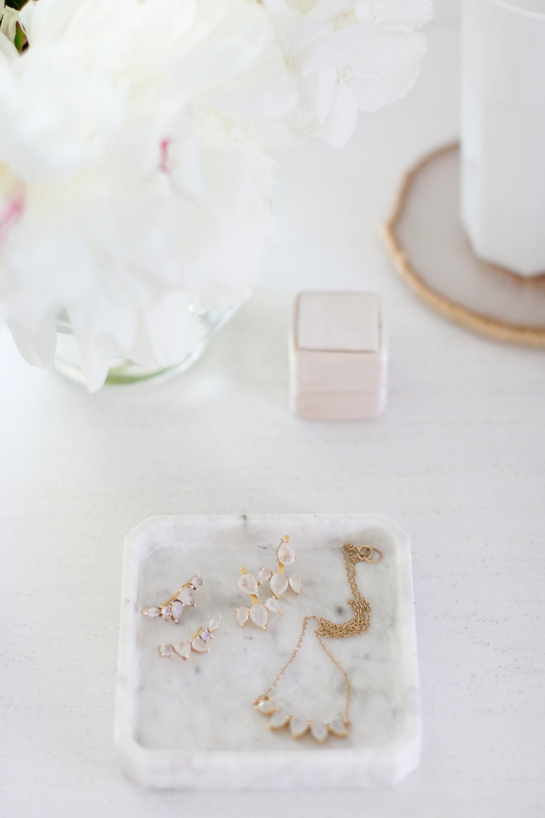 Hydrangeas Peonies Marble Tray Leah Alexandra Monika Hibbs