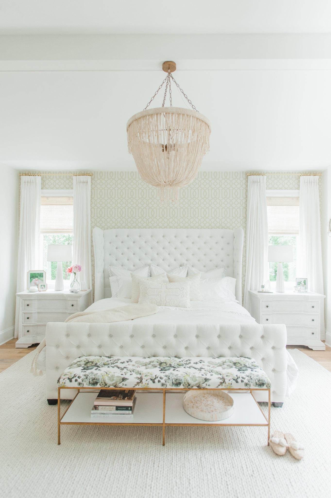 Master Bedroom White MH Home Cross Design Monika Hibbs