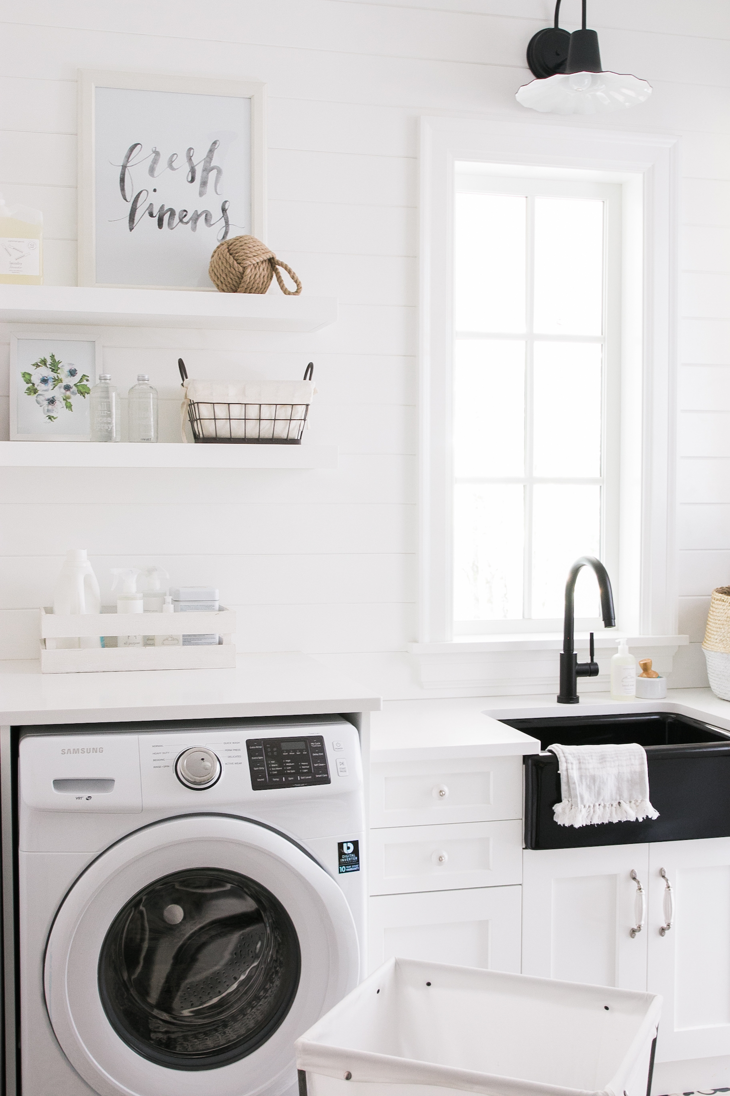 Laundry Mudroom Floating Shelves Farmhouse Sink Monika Hibbs