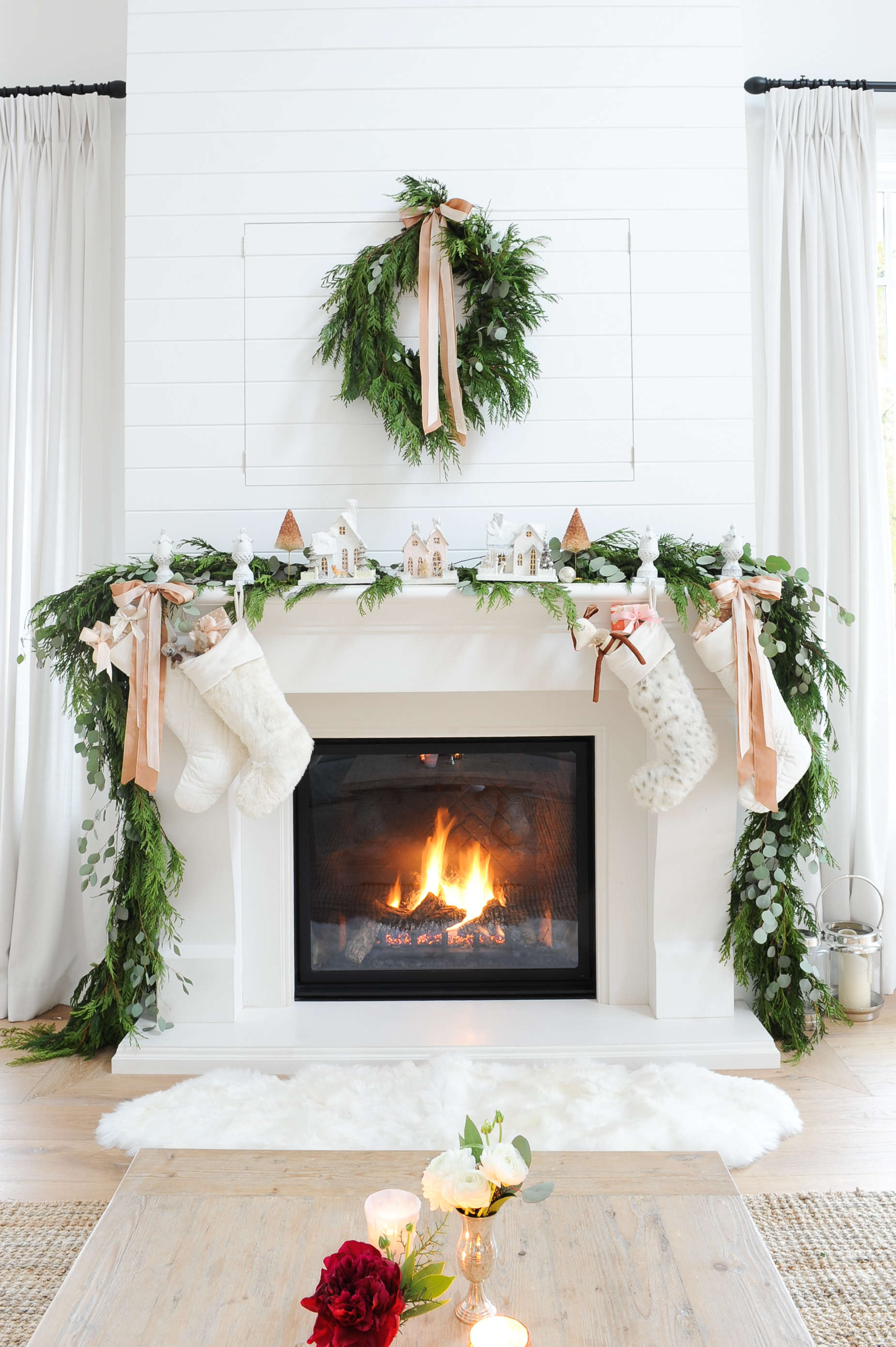 Christmas Mantel Lime Stone with Blazing Fire