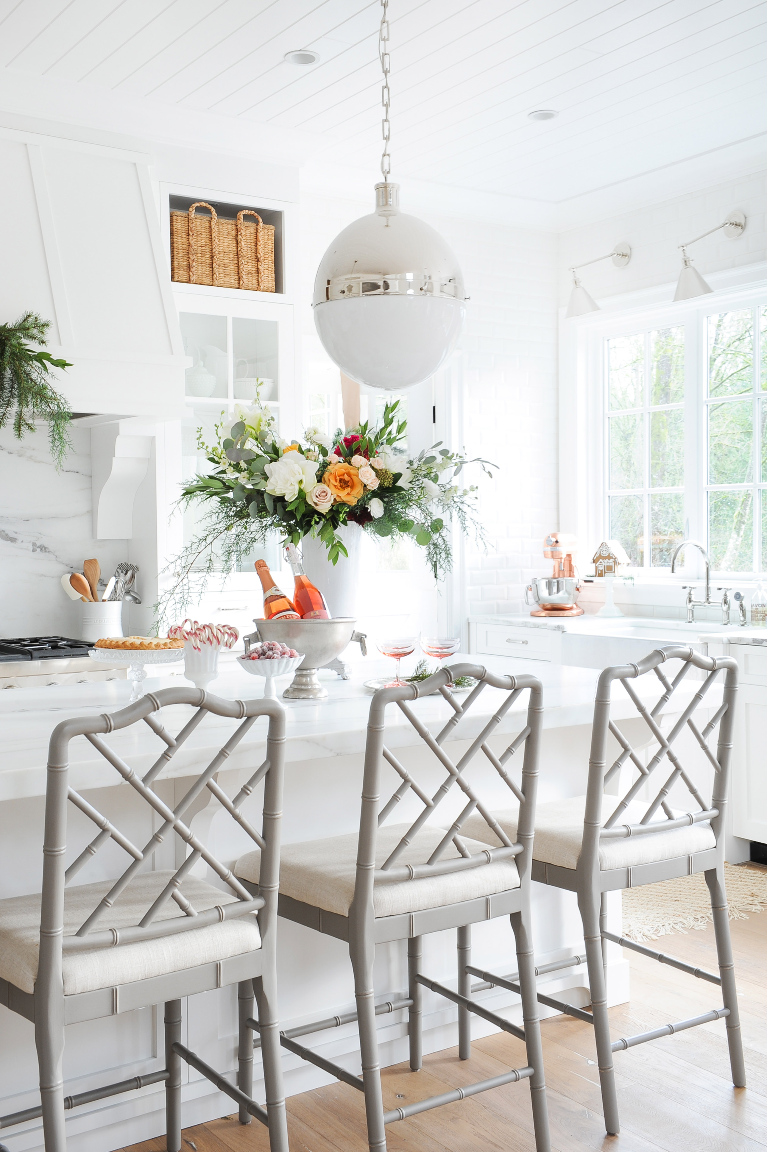 White Kitchen with grey barstools