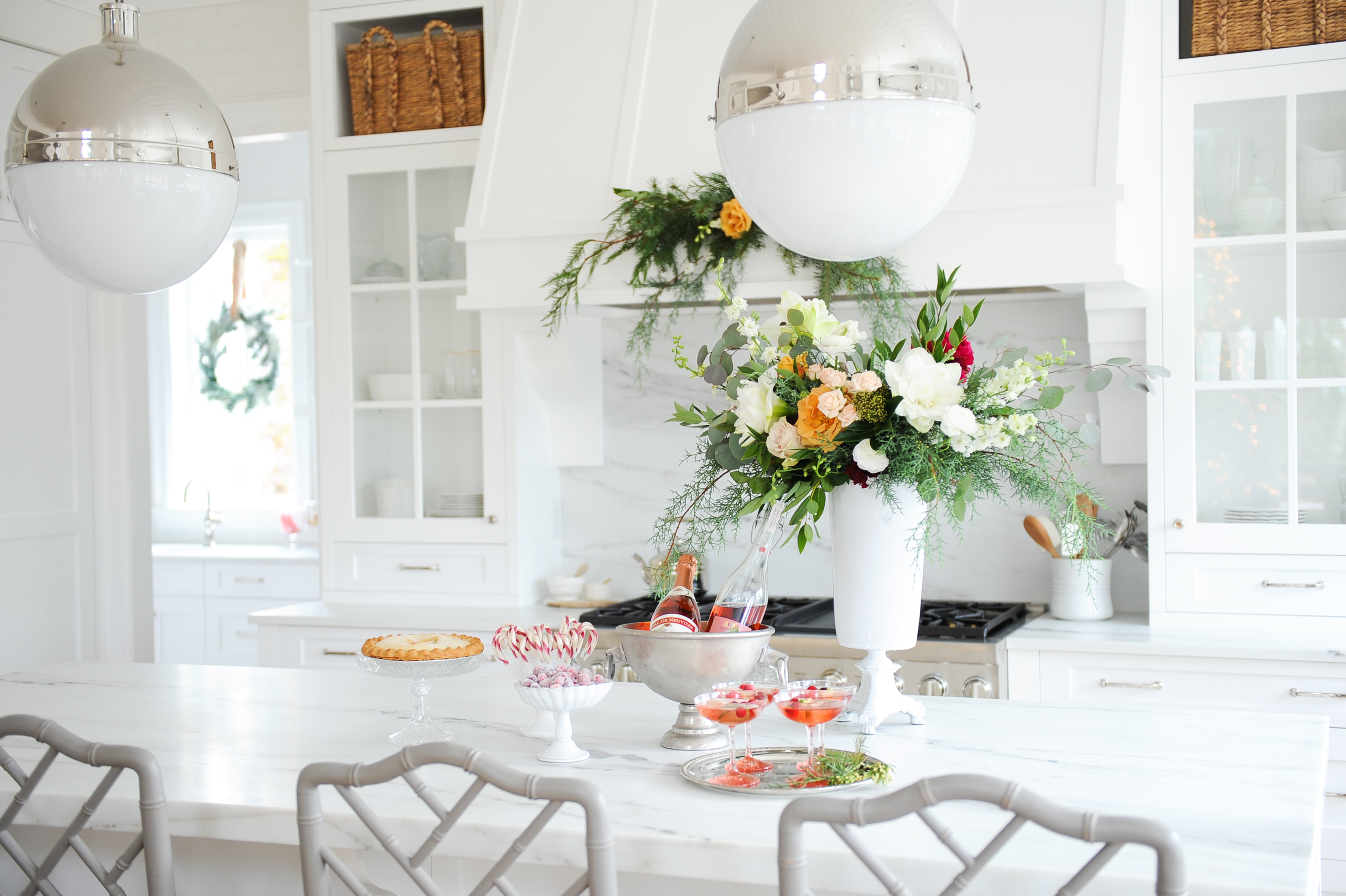 Christmas in a white kitchen with marble counters