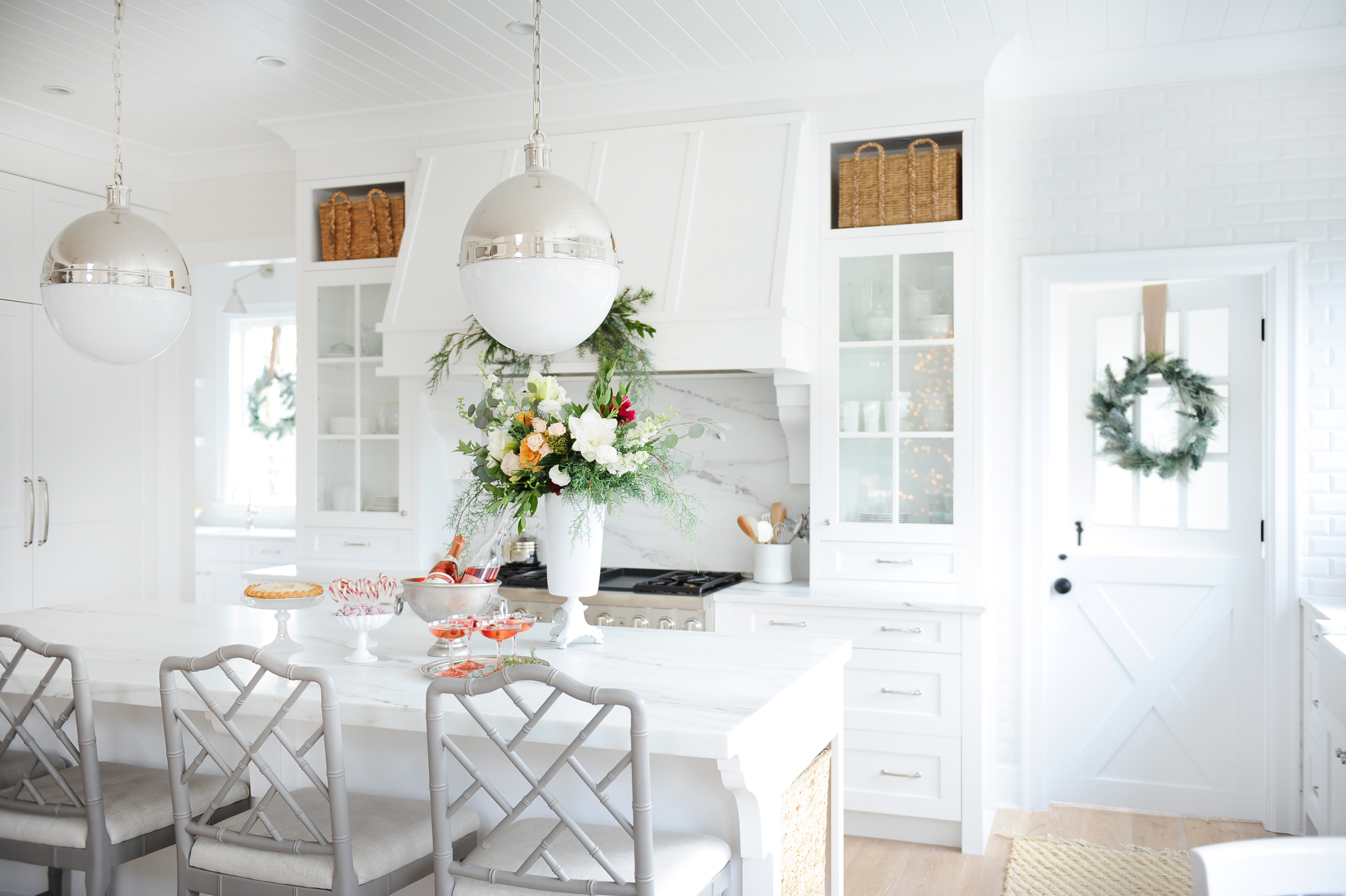 Christmas in white kitchen